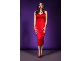Rochie rosie din material elastic Dorothy