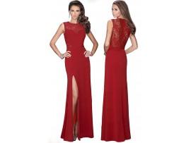 Rochie rosu inchis lunga eleganta crapatura