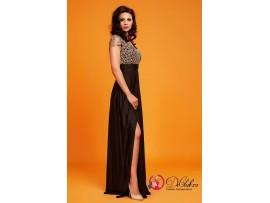 Rochie lunga eleganta negru auriu Lucky