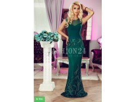 Rochie lunga verde cu broderie florala Shayla