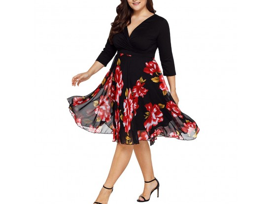 Rochie de seara XXL vaporoasa midi cu flori multicolore Maria