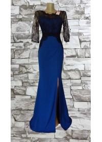 Rochie de seara lunga albastra cu dantela neagra aplicata Sellina
