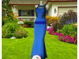 Rochie de seara lunga albastra tip sirena cu plasa Eva