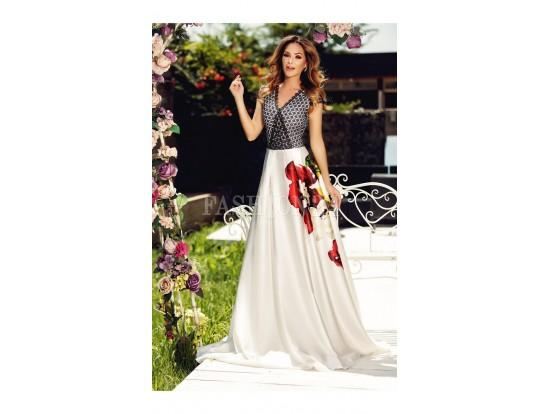 Rochie de seara lunga cu imprimeu floral multicolor Jaya