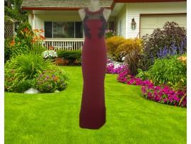 Rochie de seara lunga rosie tip sirena cu aplicatii florale Eva