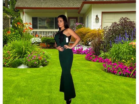 Rochie de seara lunga verde tip sirena cu aplicatii florale Eva