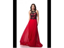 Rochie de seara rosie lunga vaporoasa din voal Lili