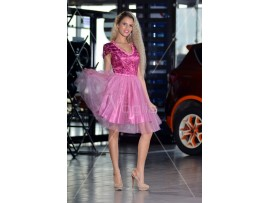 Rochie de seara scurta Baby Doll roz Alina
