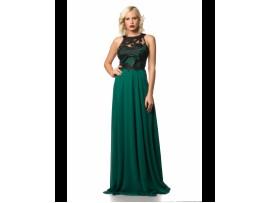 Rochie de seara verde lunga vaporoasa din voal Lili