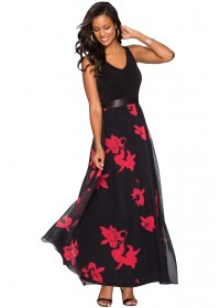 Rochie lunga vaporoasa neagra cu flori rosii Georgia