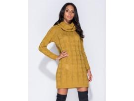 Rochie tricotata scurta galben mustar Aida
