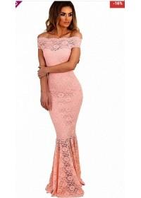 Rochie sirena din dantela florala roz Adina