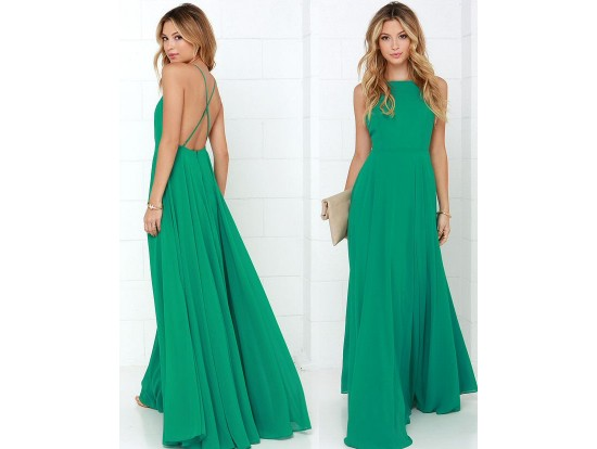 Rochie lunga vaporoasa verde Aurora