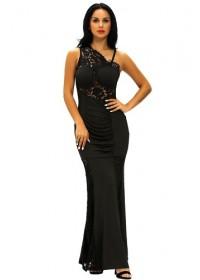 Rochie neagra lunga drapata cu insertii din dantela Alesia