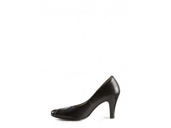 Pantof negru din piele naturala cu insertii crem model 906