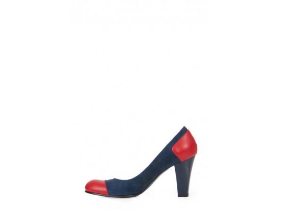Pantofi albastru cu rosu din piele naturala model P81