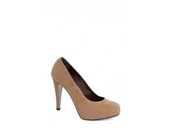 Pantofi Clarette bej din piele intoarsa model 338