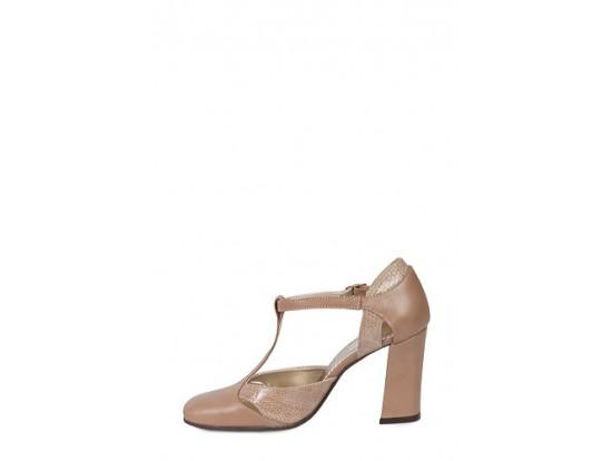 Pantofi bej inchis din piele naturala model 268