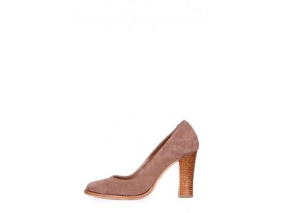 Pantofi Clarette bej inchis din piele intoarsa model 278