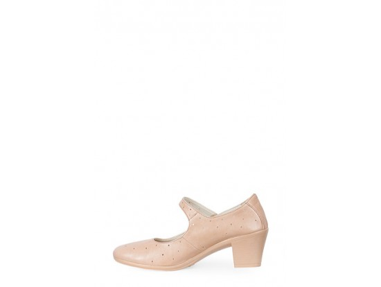 Pantofi bej perforati din piele naturala model 1214