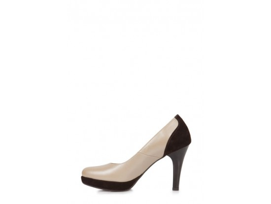 Pantofi bej sidef cu maro model M82