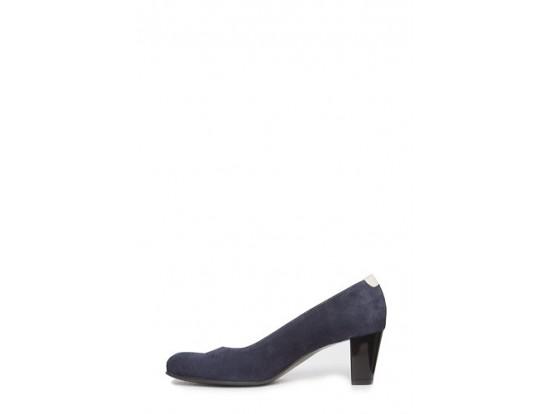 Pantofi bleumarin cu bej din piele intoarsa model 1102