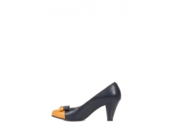 Pantofi bleumarin cu galben din piele naturala model M284