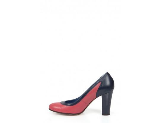 Pantofi Clarette ciclam cu bleumarin din piele naturala model 340VF