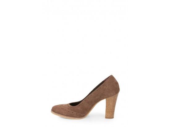 Pantofi Clarette kaki din piele intoarsa model 352