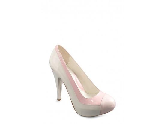 Pantofi  de ocazie Clarette bej cu roz din piele naturala model 556