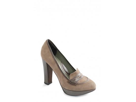 Pantofi Clarette kaki cu maro din piele naturala model 453