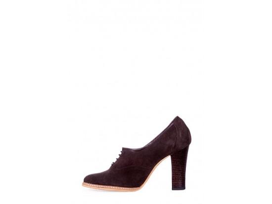 Pantofi Clarette maro din piele intoarsa model 279