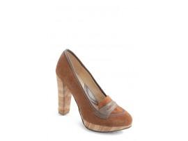 Pantofi Clarette maro din piele intoarsa model 453