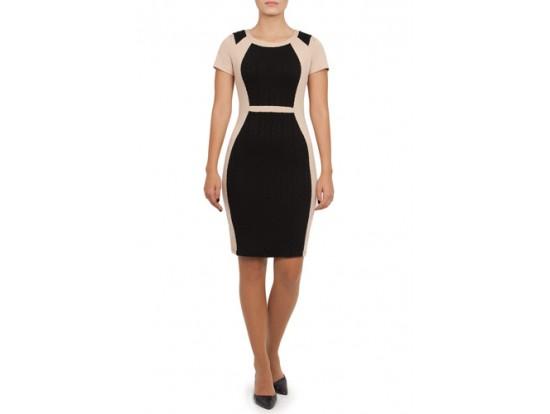 Rochie bej cu negru din jerse model ISSEY