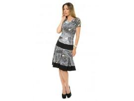 Rochie gri cu negru din jerse