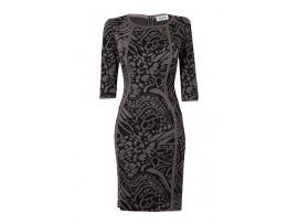 Rochie negru cu maro din jerse model 2716