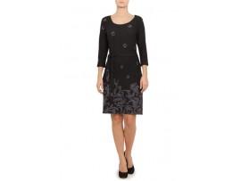 Rochie negru cu mov din tricot model CN07