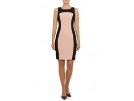 Rochie negru cu somon din stofa model VALEY
