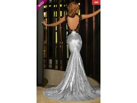 Rochie eleganta cu trena lunga sirena paiete argintii Krista